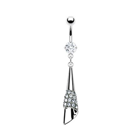 Mspiercing Belly Ring With Jeweled Cone Dangle Walmart Com
