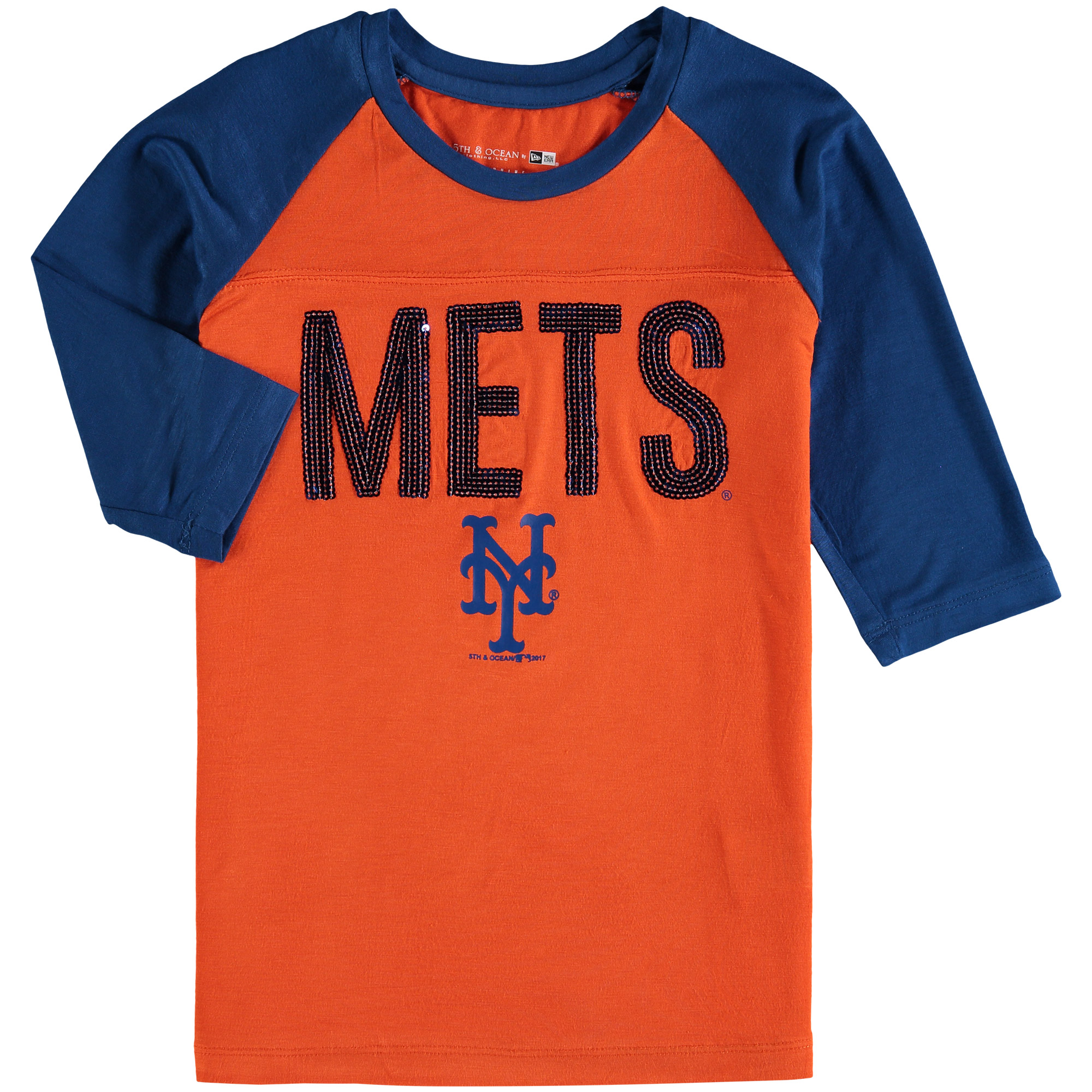 New York Mets New Era Girls Youth Crew Neck Raglan 3/4-Sleeve T-Shirt Orange/Royal