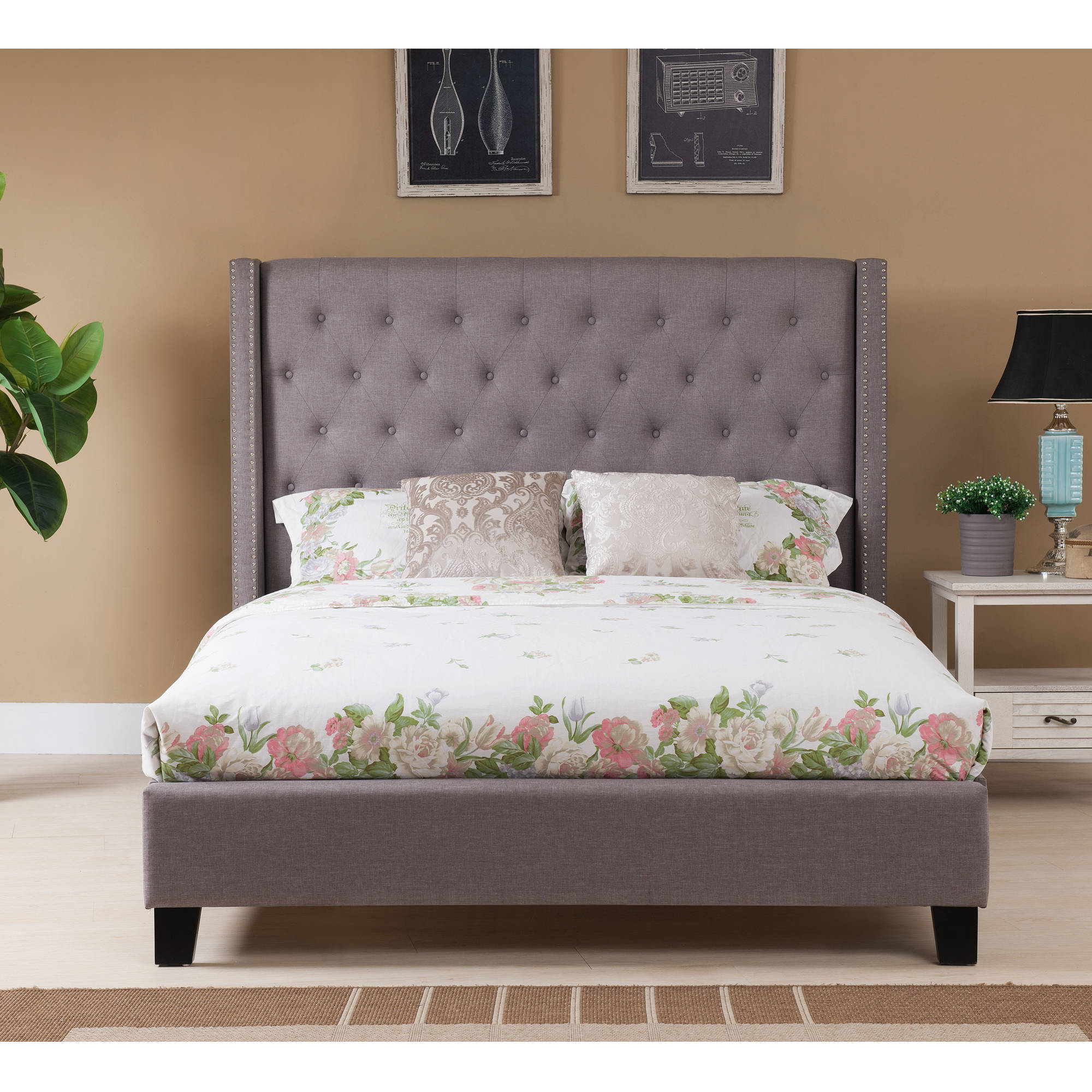 Boraam Upholstered Dalton Bed, Gray