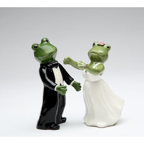 Cosmos Gifts Frog Wedding Couple Salt and Pepper Set