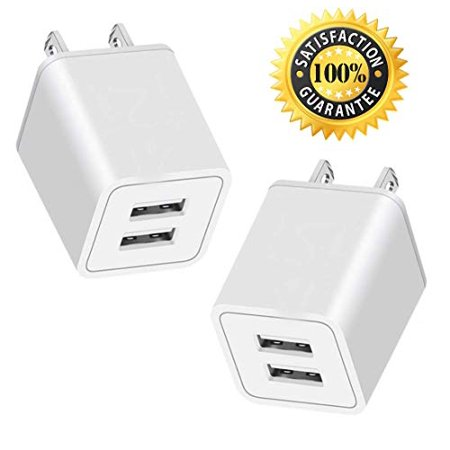 2-PACK 2.4Amp Dual 2-Port USB Wall Charging Travel Power Adapter Compatible for iPhone X 8/7/6 Plus SE/5S/4S, iPad, iPod, Samsung, Android Phone -
