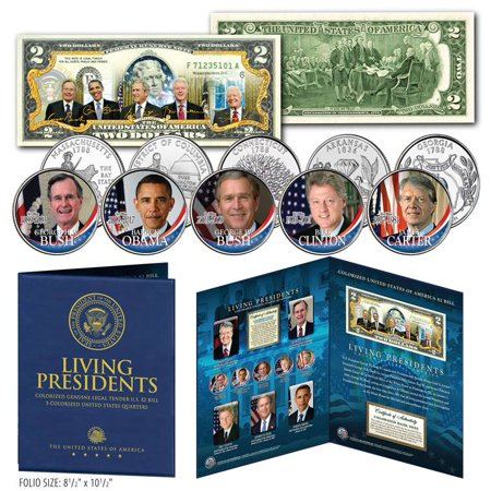 LIVING PRESIDENTS U.S $2 Bill w/ 5-Coin Statehood Quarter Set LARGE 8x10 DISPLAY Olympic Coin Sets