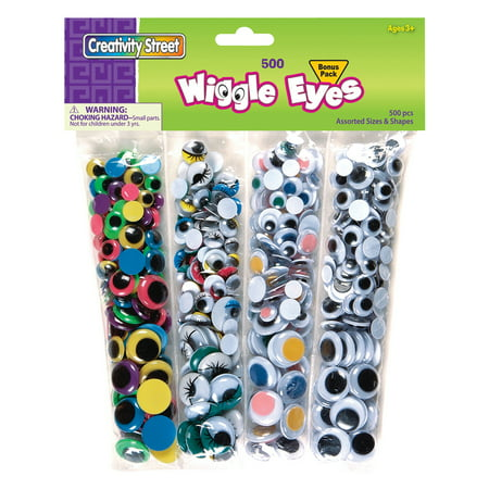 Creativity Street® Wiggle Eyes, 500 Pieces, Assorted Colors (Wiggle Eyes Bulk)