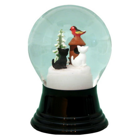 Perzy 5 in. Cats with Small Birdhouse Snow - Mason Jar Snow Globes