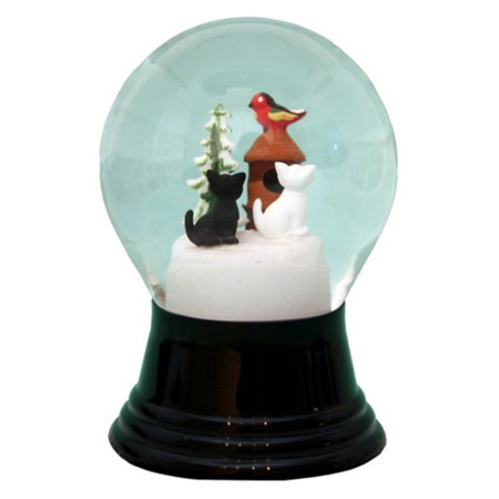 Perzy 5 in. Cats with Small Birdhouse Snow Globe