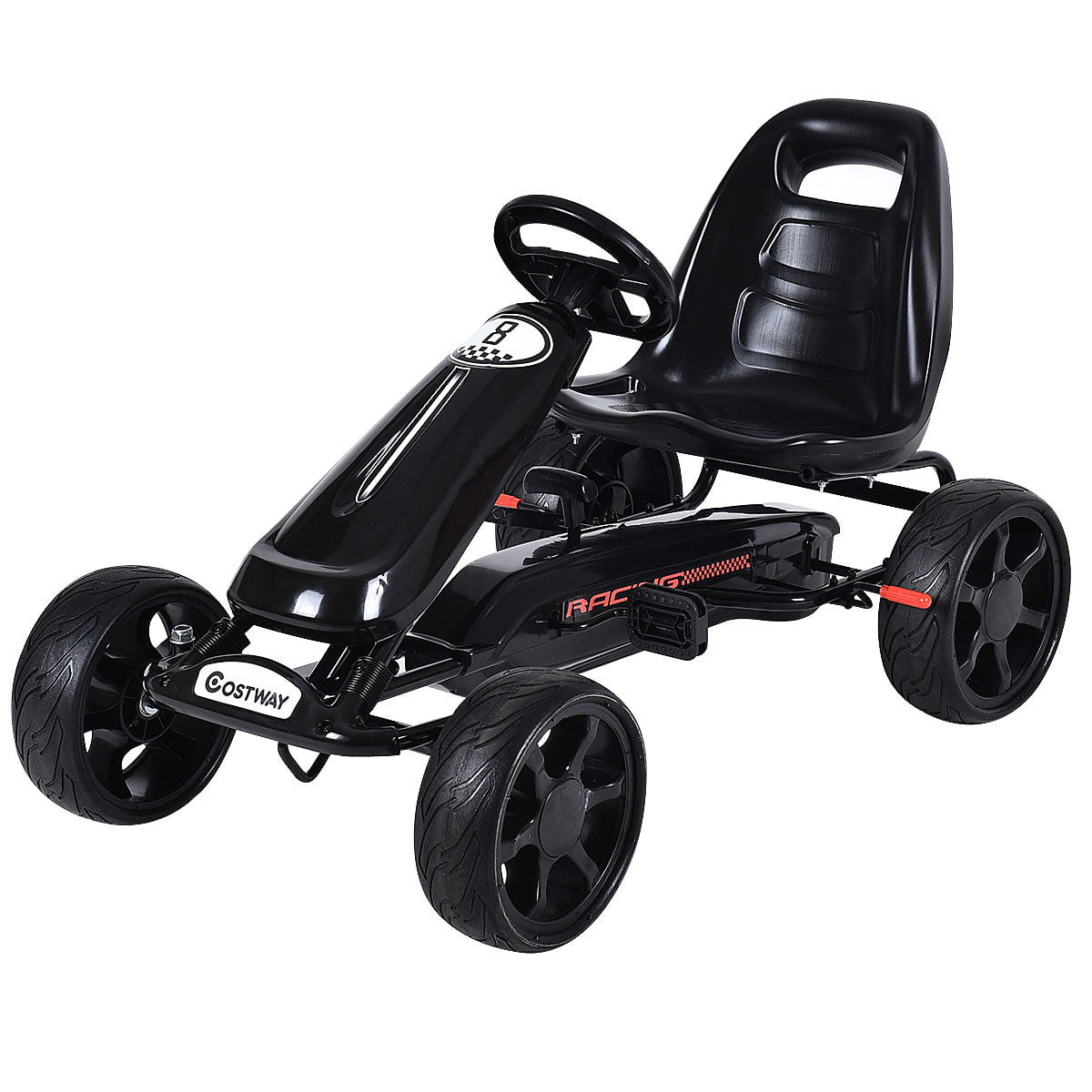 Costway Xmas Gift Go Kart Kids Ride On Car Pedal Powered Car 4 Wheel Racer Toy Stealth Outdoor by Costway