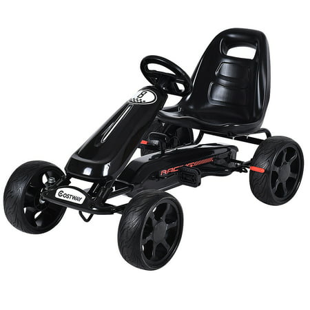 Costway Xmas Gift Go Kart Kids Ride On Car Pedal Powered Car 4 Wheel Racer Toy Stealth Outdoor (Race Go Cart)