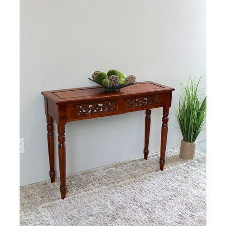 International Caravan Windsor Hand Carved Wood 2-Drawer Indoor Console Table Mahogany Console Table