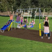 Sportspower Cambridge Metal Swing Set with 2 swings, teeter totter,2 person glider, and 5ft 1pc slide