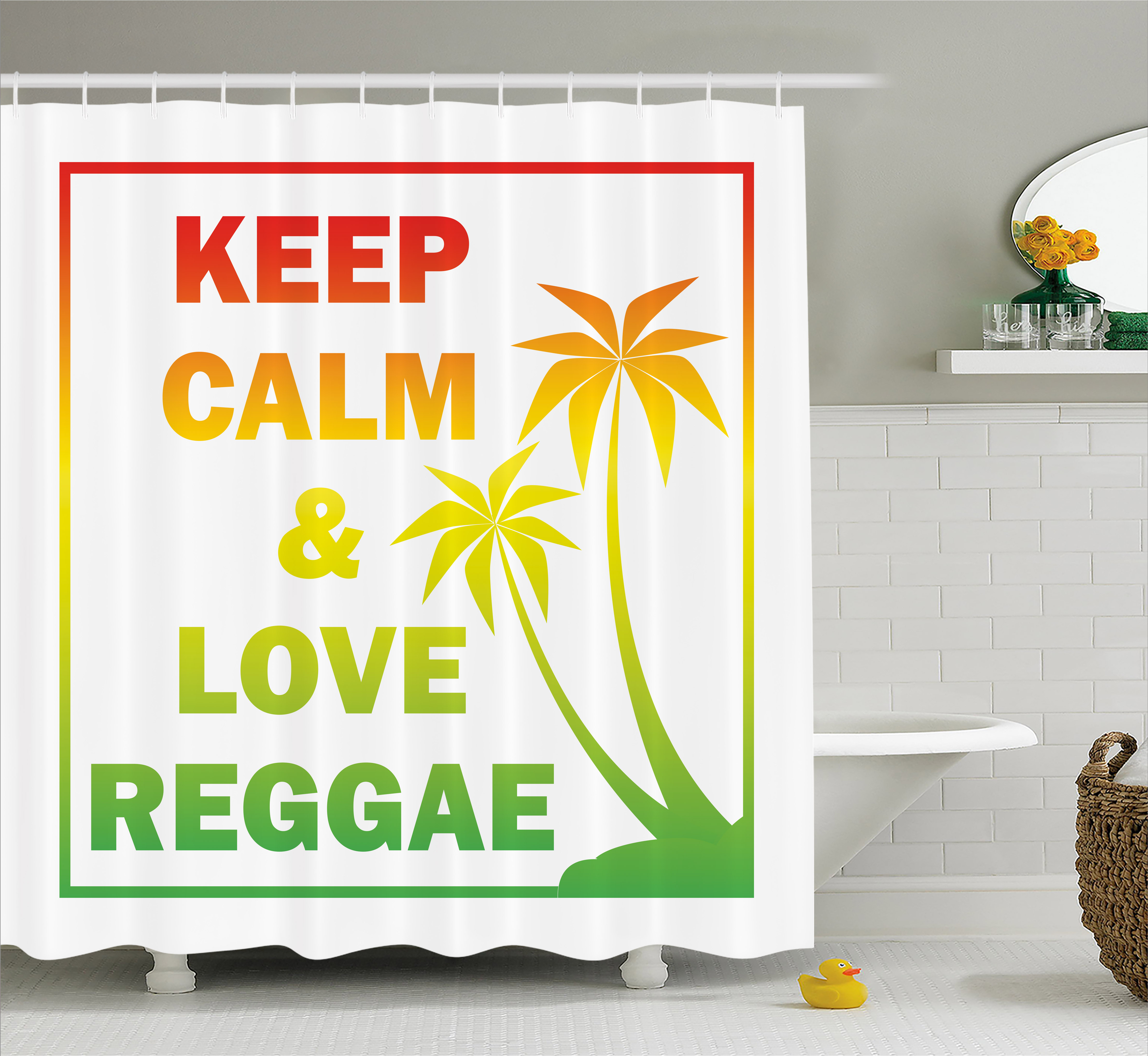 Rasta Shower Curtain, Keep Calm And Love Reggae Quote In Ombre Rainbow  Colors Music Themed
