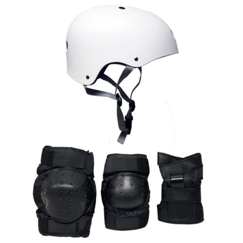 Skateboard Helmet Elbow/Knee/Wrist Pad Combo ADULT LARGE Bmx Inline WHITE
