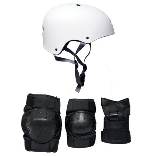 Skateboard Helmet Elbow/Knee/Wrist Pad Combo ADULT LARGE Bmx Inline WHITE