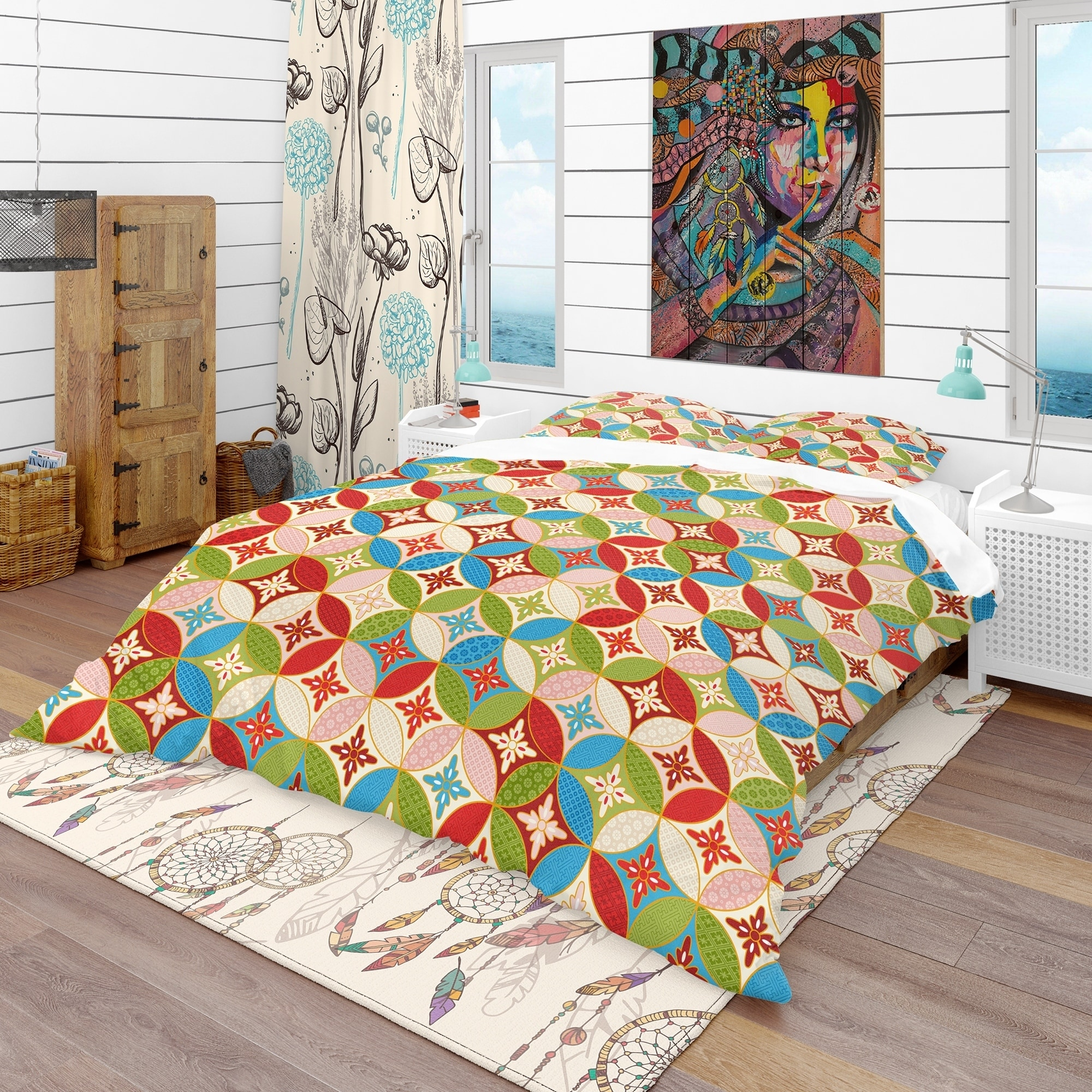 Designart Circles Japanese Texture Bohemian Eclectic Duvet Cover Twin Bedding Set 1 Sham Green Walmart Com Walmart Com