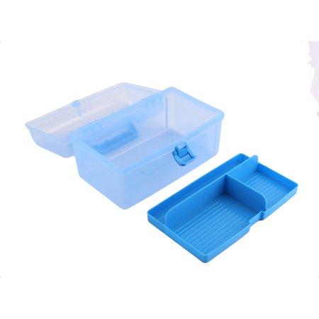 Maison Couches stockage double en plastique Articles divers Bo te fort bleu clair Conteneurs - image 2 de 5
