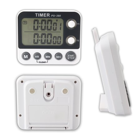 Portable Digital LCD Magnetic Timer Countdown Clock, Dual Display Channel Timer Alarm
