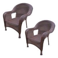 """Set of 2 Coffee Brown Stylish Outdoor Patio Resin Wicker Arm Chairs 35.35"""""""