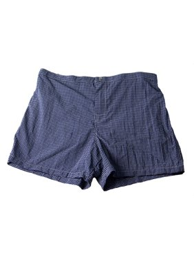 PAL ZILERI Men's Small Check Snap Front Swim Trunks Blue/White