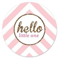 Hello Little One - Pink and Gold - Girl Baby Shower Party Circle Sticker Labels - 24 Count