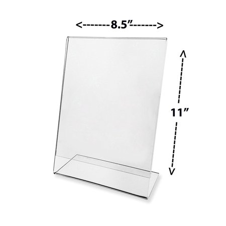 Premium Clear Slant Back Sign Holder 8.5 X 11, 8.5