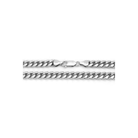 8943707caf7cf Men's Solid Sterling Silver Rhodium Plated 7mm Miami Cuban Curb Chain  Necklace