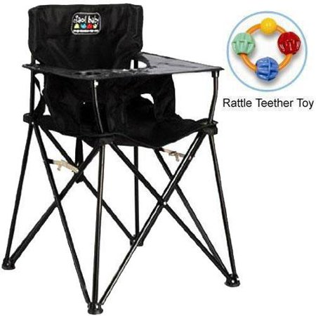 ciao baby - Portable High Chair with Rattle Teether Toy - Black