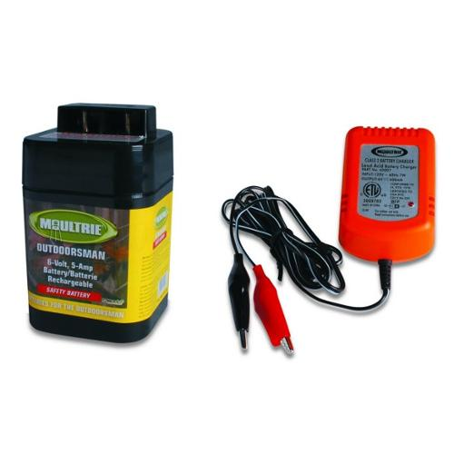 MOULTRIE 6 Volt Rechargeable Safety Feeder Battery + 6 Volt Battery Charger