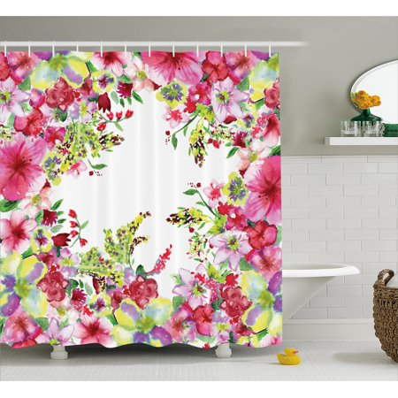 Watercolor Flower House Decor Shower Curtain Fresh Curly Willow And Dahlia Floral Summer Buds Pollen