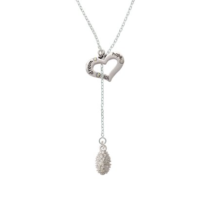 Pine Cone - Dream Hope Wish Heart Lariat Necklace