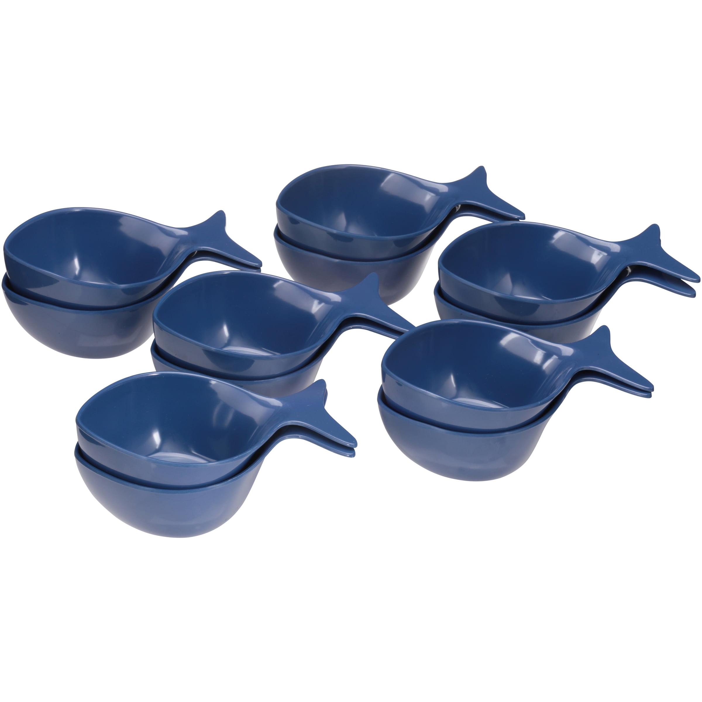 Mainstays Summer Entertaining Melamine Figural Fish Bowls, Dark Blue, 12 Pack