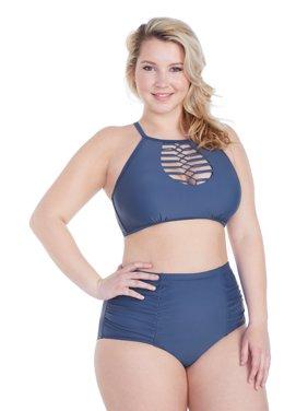 8aee5fd2cdc26 Product Image Raisins Curve Juniors Plus Size Summer Solstice Playa High  Neck Bra Swim Top
