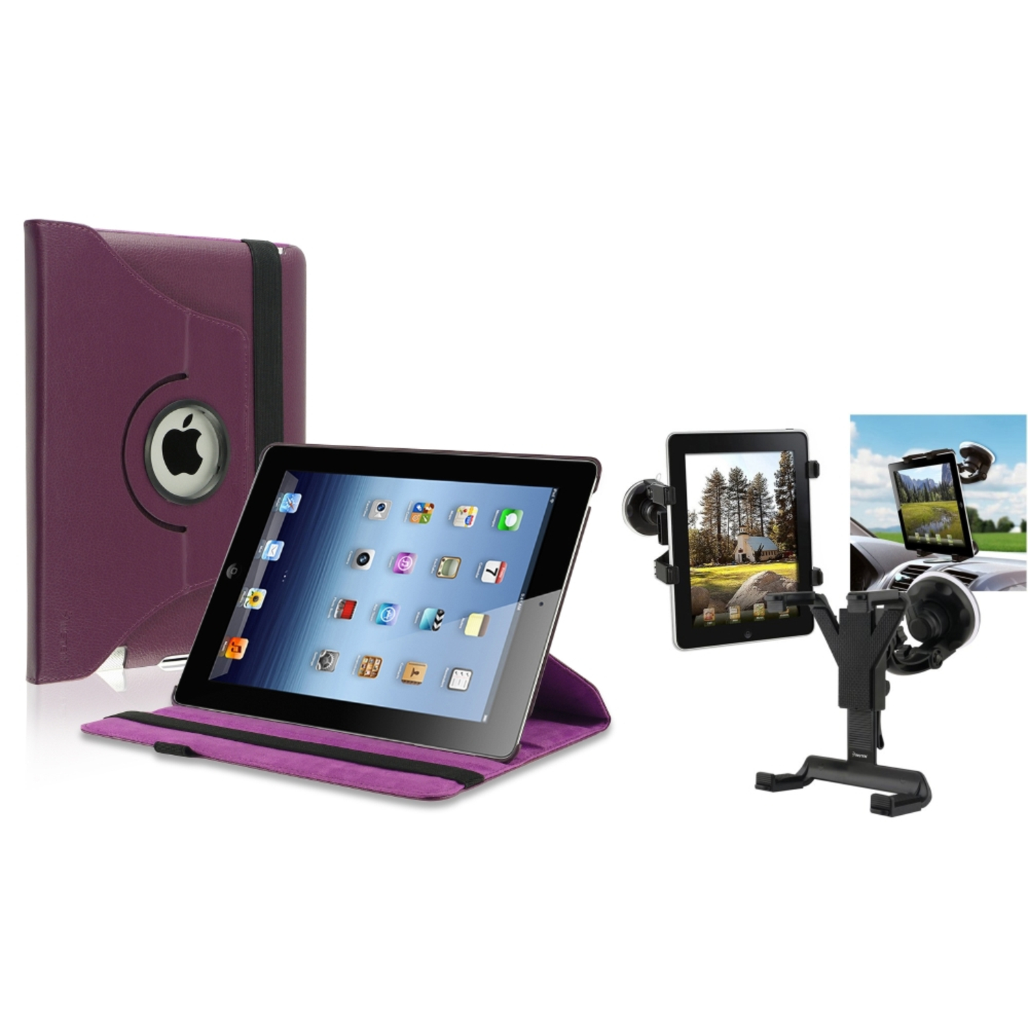 Insten Black Car Mount Holder+Purple 360 Rotating Leather Case for iPad 2 nd 3 rd 4 th (Supports Auto Sleep\/Wake)