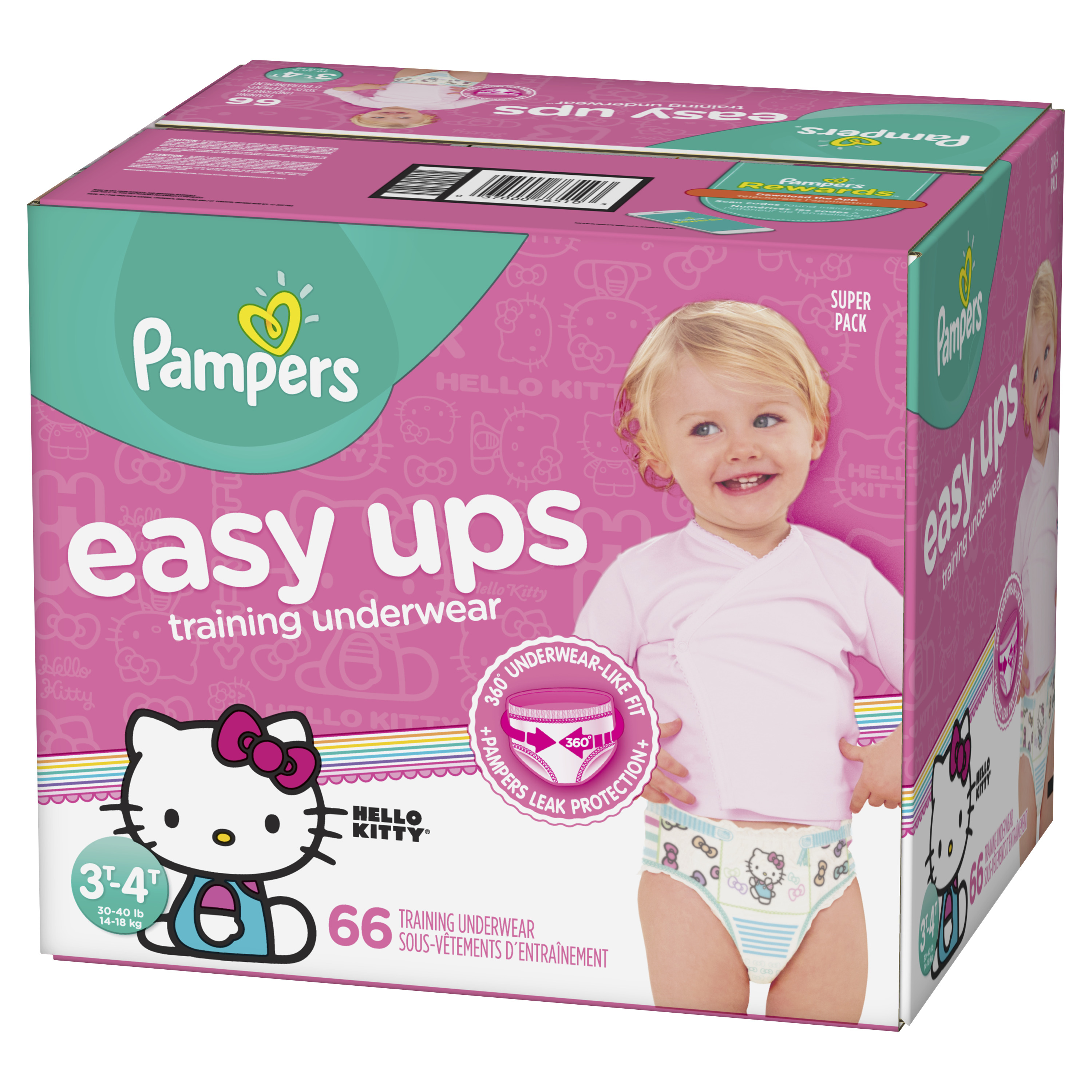Pampers Easy Ups Training Underwear Girls Size 5 3T-4T 66 Count