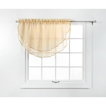Home Elegance 3 Piece - Belle Maison USA, LTD. Elegance Voile Layered Ascot Curtain Valance 60