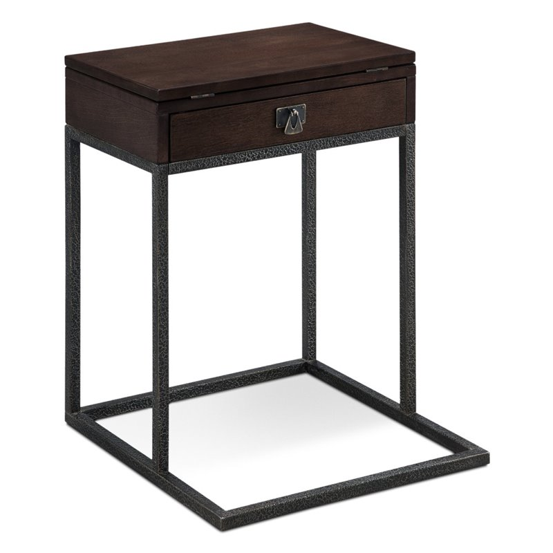 Leick Empiria End Table in Walnut and Foundry Bronze by Leick Furniture