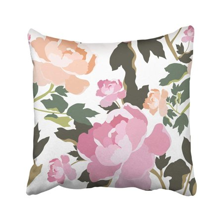 BPBOP Pink Beautiful Floral Colorful Green Beauty Botanical Flower Leaf Nature Plant Romantic Pillowcase Throw Pillow Cover 18x18 inches
