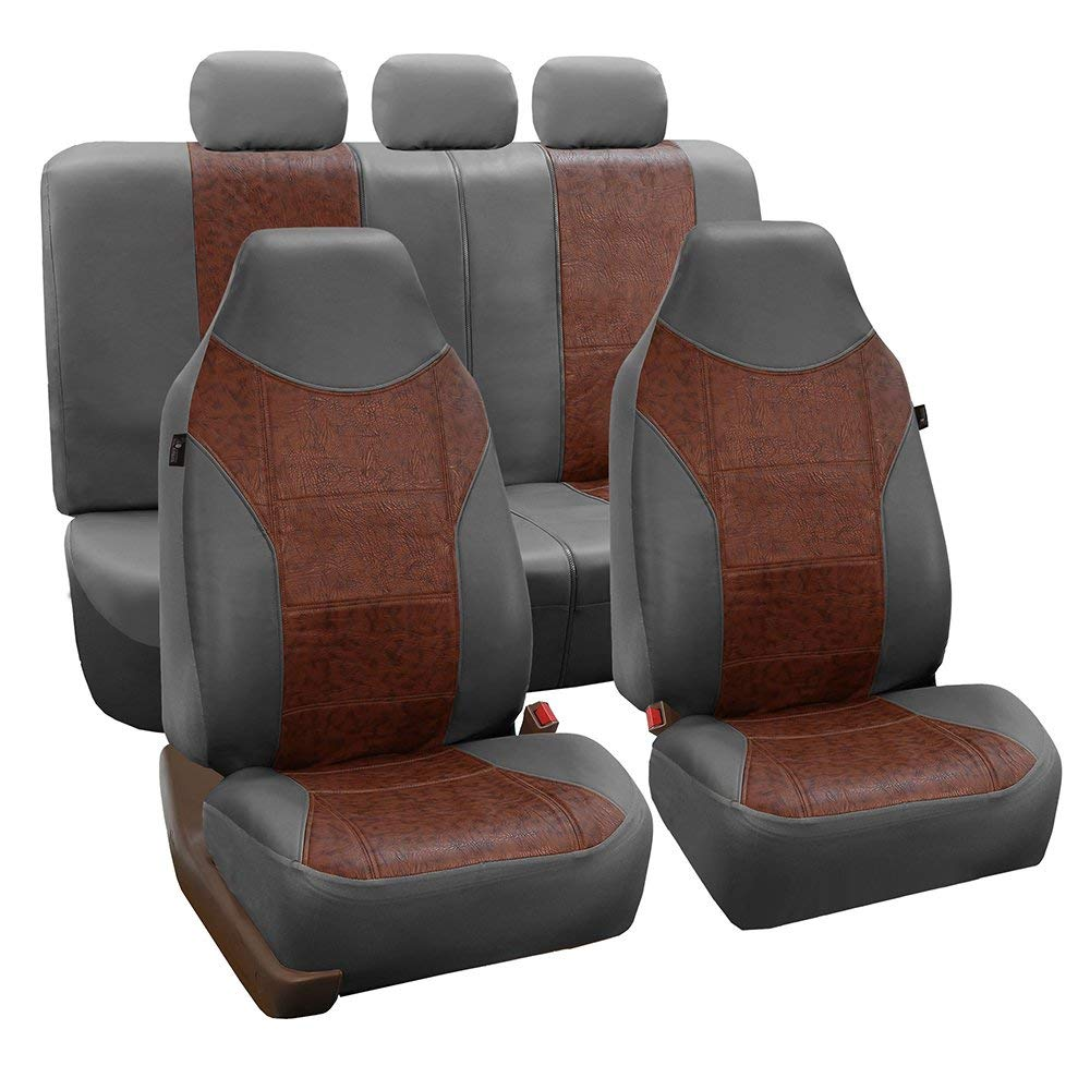 FH Group Gray and Brown Textured Leather Seat Covers, Side Airbag Compatible, with Split Bench Function, Full Set.