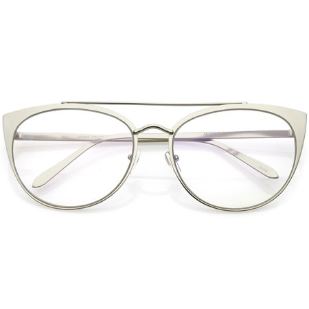 Women's Oversize Metal Cat Eye Glasses Crossbar Round Clear Flat Lens 61mm (Silver / (Cat Eye Glasses Round Face)