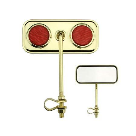 Red Beach Cruiser - Rectangle Mirror Gold Red Reflectors. Bike mirror, bicycle mirror for lowrider , beach cruiser, chopper, limo, stretch bike