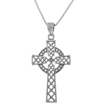 - Sterling Silver Celtic Cross Pendant on 18 Inch Box Chain Necklace