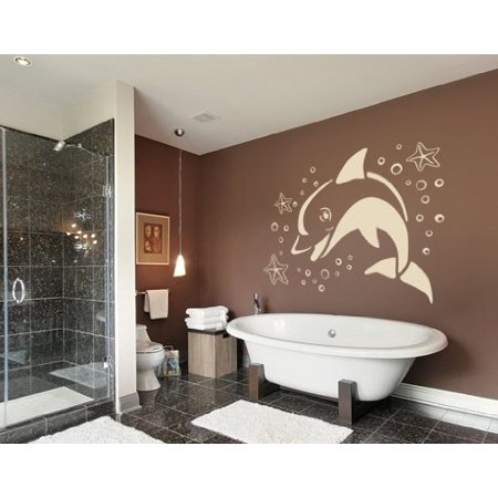 Jumping Dolphin with starfish Wall Decal - Wall Sticker, Vinyl Wall Art, Home Decor, Wall Mural - 1875 - 39in x 27in, Sage