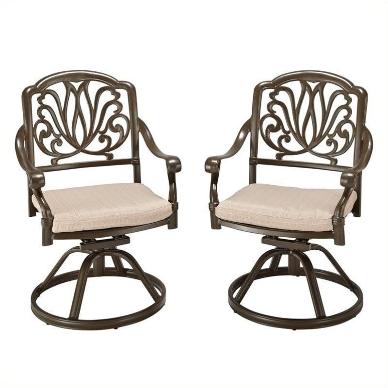 bowery hill swivel patio dining chair in taupe - Swivel Patio Chairs