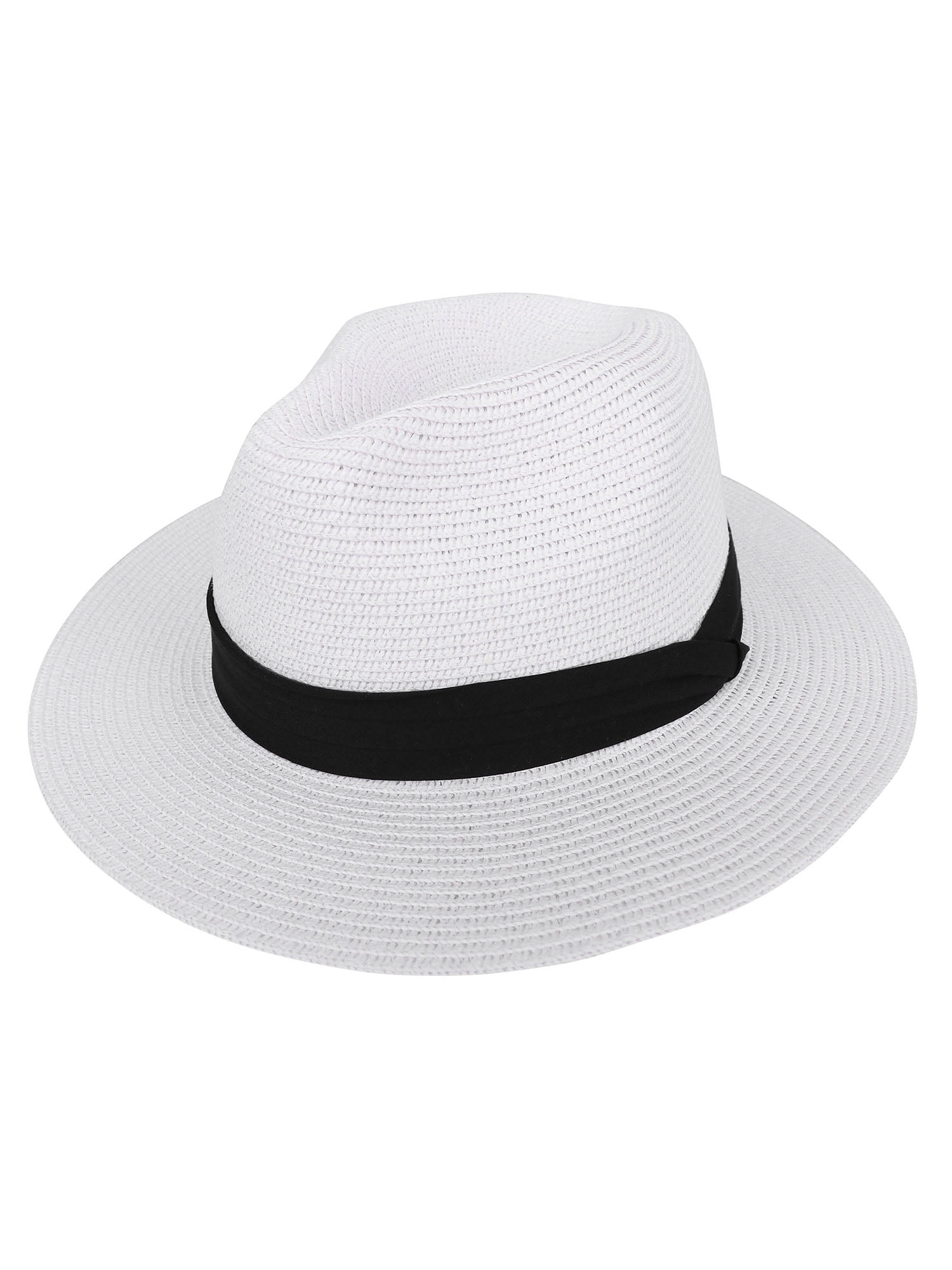 Unisex Straw Packable Travel Panama Hat Trilby Wide Brim Cap Gift Luxury