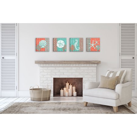 Gango Home Decor Teal and Coral Ocean Shells & Sea Life Coastal Wall Art; Four Green 12x12in Hand-Stretched Canvases ()