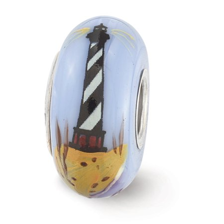 Fenton Blue Hand Painted Lighthouse Glass   Sterling Silver Charm