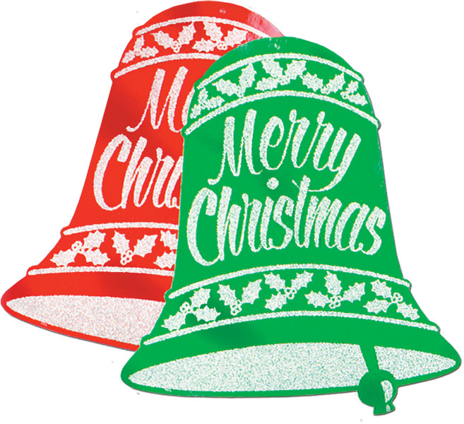 "Glittered Christmas Bell Signs 18"""" X 16""""- Pack Of 12"