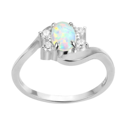Swirl Tension Oval White Simulated Opal Ring Sterling Silver Size 11