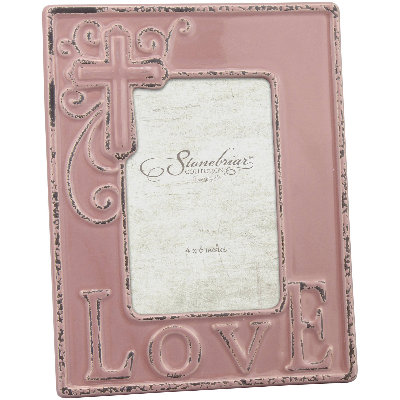 "4"" x 6"" Worn Faded Rose Ceramic Love Frame"