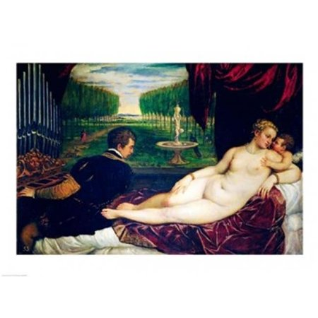 Posterazzi BALXIR38586LARGE Venus with An Organist & Cupid Poster Print by Titian - 36 x 24 in. - Large - image 1 of 1