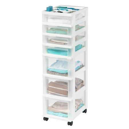 IRIS 7-Drawer Storage Cart with Organizer Top,
