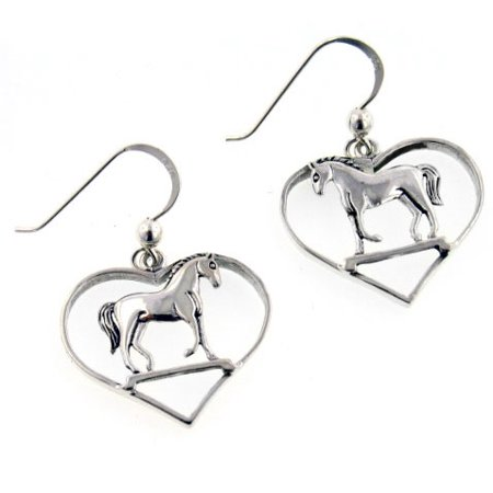 Graceful Standing Horse in Heart Sterling Silver Hook Pony Earrings